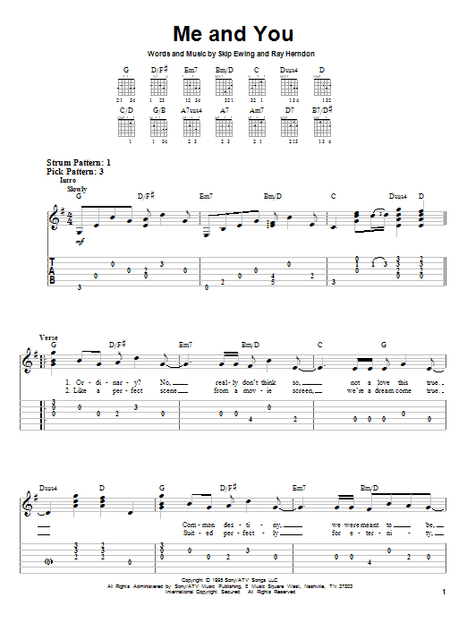 Me And You (Easy Guitar Tab)