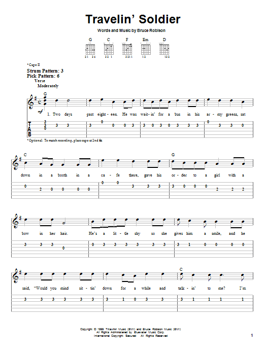 Travelin Soldier By Dixie Chicks Easy Guitar Tab Guitar Instructor