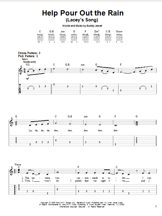 Tablature guitare Help Pour Out The Rain (Lacey's Song) de Buddy Jewell - Tablature guitare facile