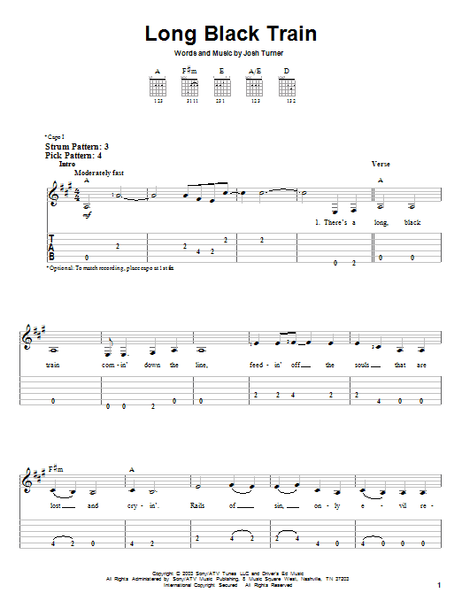 Tablature guitare Long Black Train de Josh Turner - Tablature guitare facile