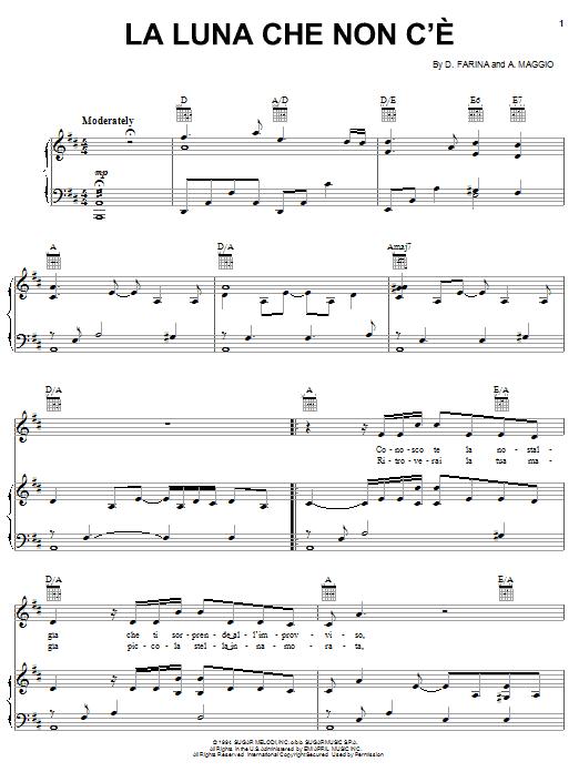 La Luna Che Non C'e (Piano, Vocal & Guitar (Right-Hand Melody))
