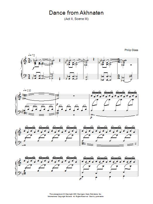 Dance from Akhnaten, Act 2 Scene 3 Sheet Music