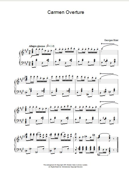 Carmen Overture Sheet Music