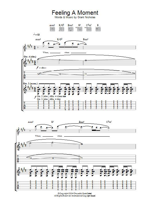 Feeling A Moment (Guitar Tab)