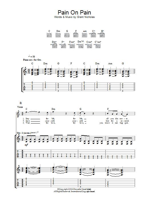 Pain On Pain Sheet Music