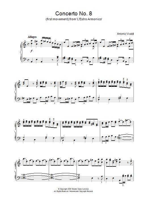Concerto No.8 (1st Movement: Allegro) from 'L'Estro Armonico' Op.3 Sheet Music