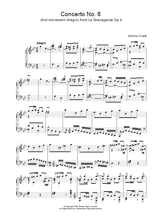 Concerto No.6 (1st Movement: Allegro) from 'La Stravaganza' Op.4 Sheet Music