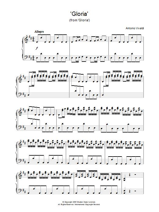 'Gloria' (from 'Gloria') (Piano Solo)