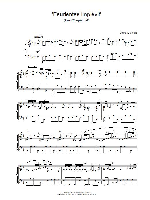 'Esurientes Implevit' (from 'Magnificat') (Piano Solo)