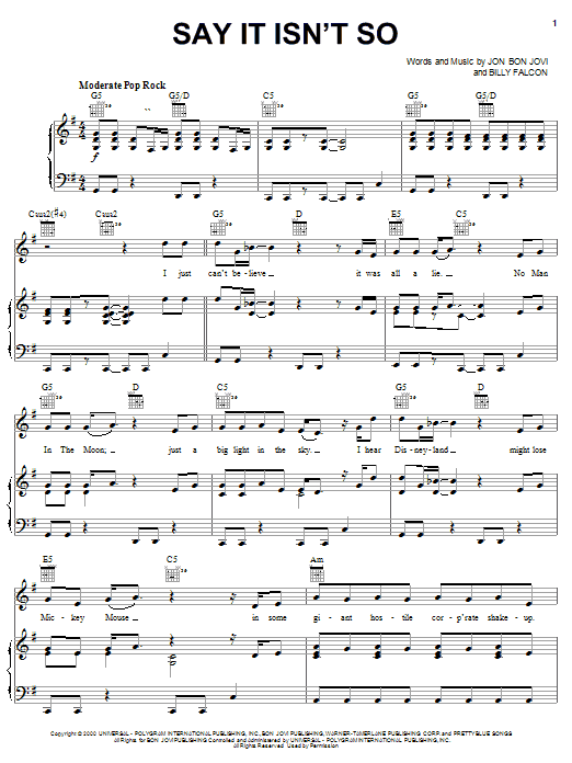 Say It Isn't So (Piano, Vocal & Guitar (Right-Hand Melody))