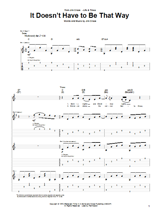It Doesn't Have To Be That Way (Guitar Tab)