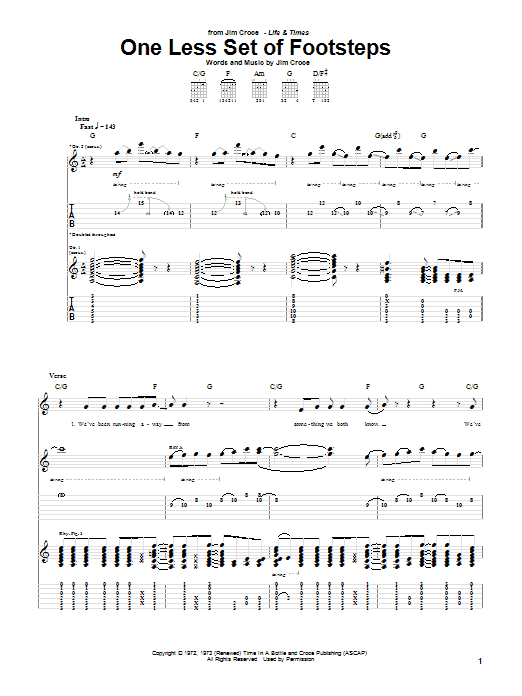 One Less Set Of Footsteps (Guitar Tab)