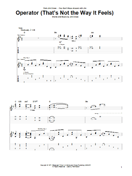 Operator (That's Not The Way It Feels) (Guitar Tab)