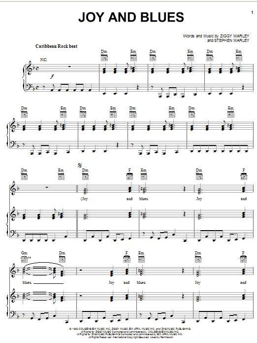 Partition piano Joy And Blues de Ziggy Marley - Piano Voix Guitare (Mélodie Main Droite)