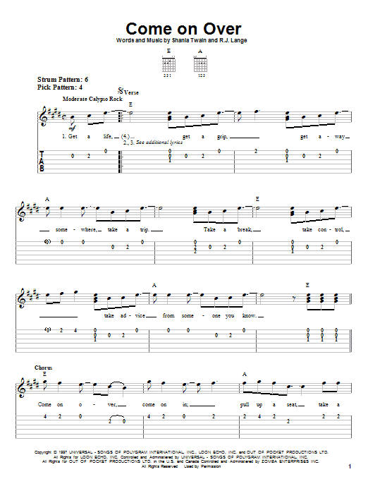 Tablature guitare Come On Over de Shania Twain - Tablature guitare facile