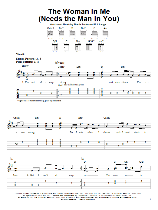 Tablature guitare The Woman In Me (Needs The Man In You) de Shania Twain - Tablature guitare facile