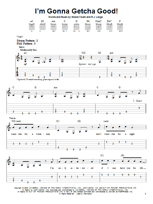 Tablature guitare I'm Gonna Getcha Good! de Shania Twain - Tablature guitare facile