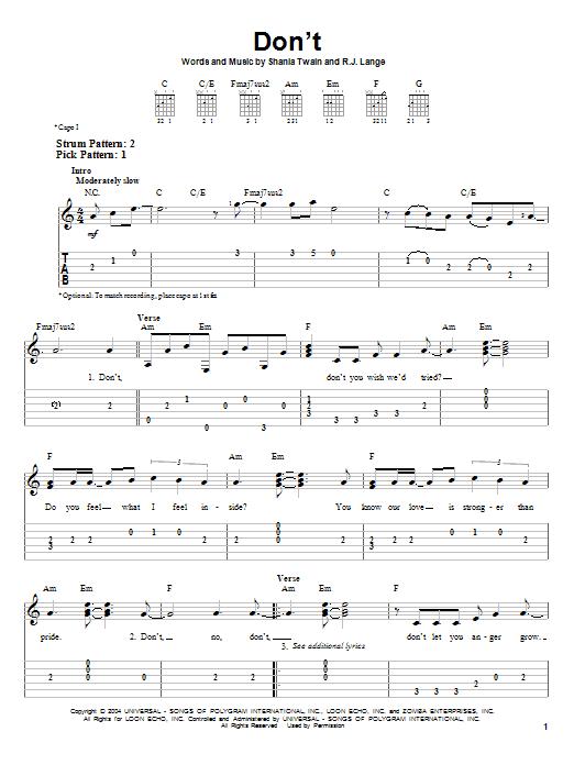 Tablature guitare Don't de Shania Twain - Tablature guitare facile