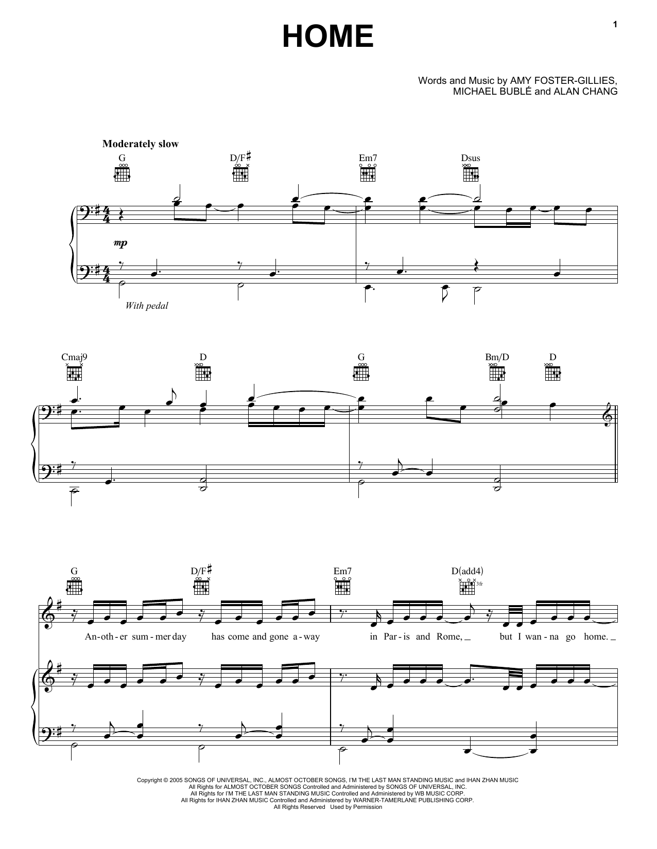 Partition piano Home de Michael Buble - Piano Voix
