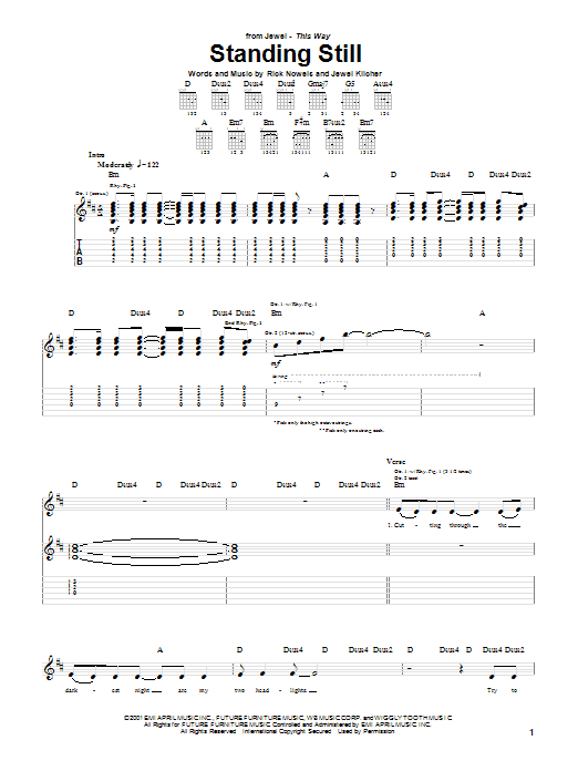 Tablature guitare Standing Still de Jewel - Tablature Guitare