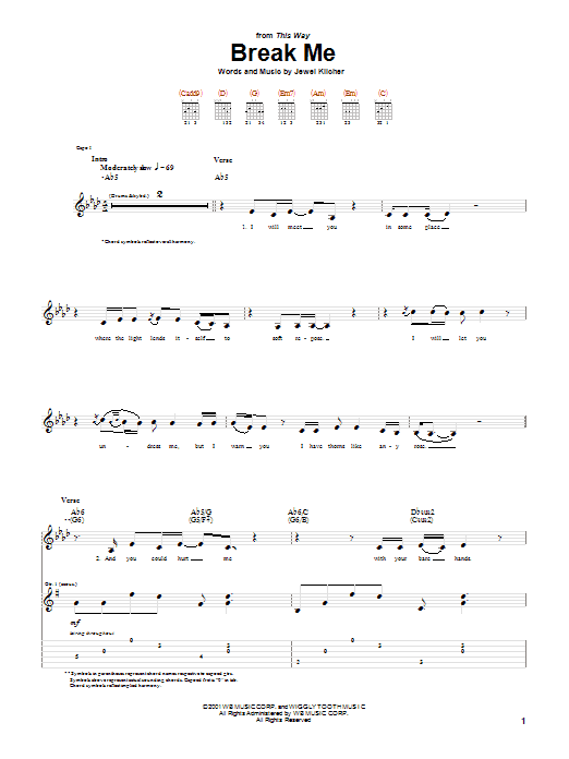 Tablature guitare Break Me de Jewel - Tablature Guitare