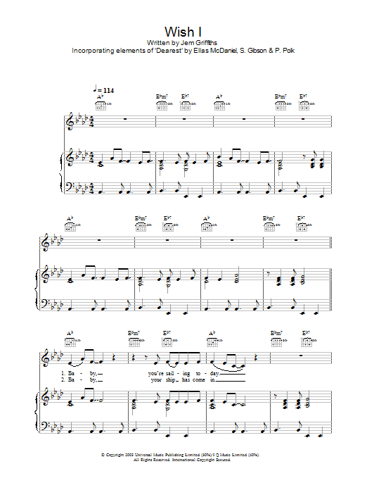 Wish I (Piano, Vocal & Guitar)