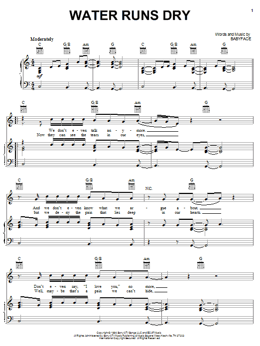 Water Runs Dry (Piano, Vocal & Guitar (Right-Hand Melody))