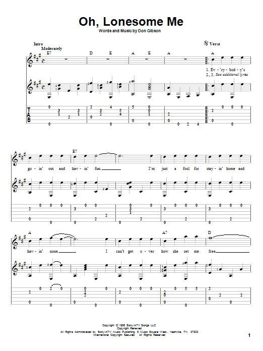 Oh, Lonesome Me Guitar Tab by Don Gibson (Guitar Tab – 83110)