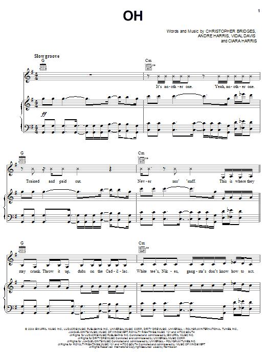 Partition piano Oh de Ciara and Ludacris - Piano Voix Guitare (Mélodie Main Droite)