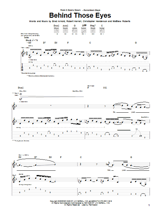Tablature guitare Behind Those Eyes de 3 Doors Down - Tablature Guitare