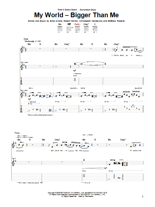 My World - Bigger Than Me (Guitar Tab)