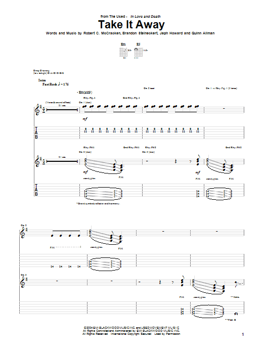 Tablature guitare Take It Away de The Used - Tablature Guitare