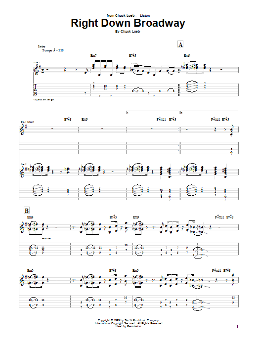 Tablature guitare Right Down Broadway de Chuck Loeb - Tablature Guitare
