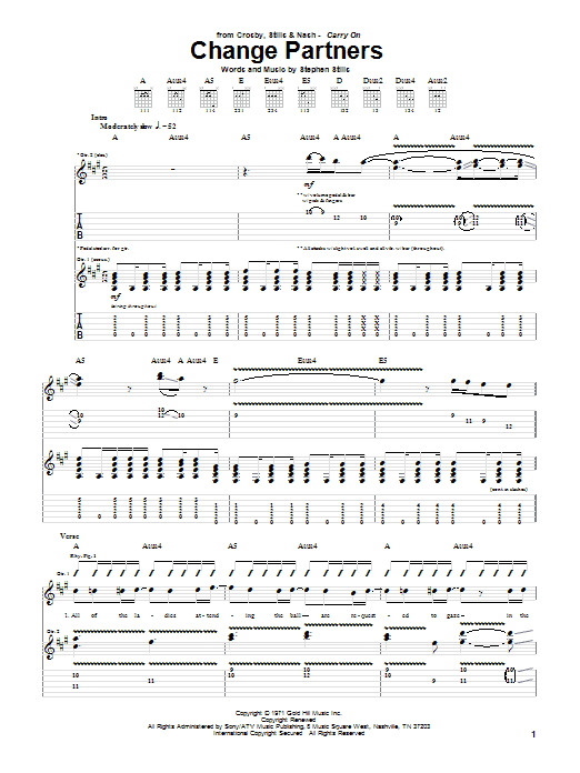 Tablature guitare Change Partners de Crosby, Stills & Nash - Tablature Guitare