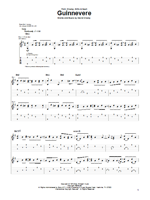 Tablature guitare Guinnevere de Crosby, Stills & Nash - Tablature Guitare