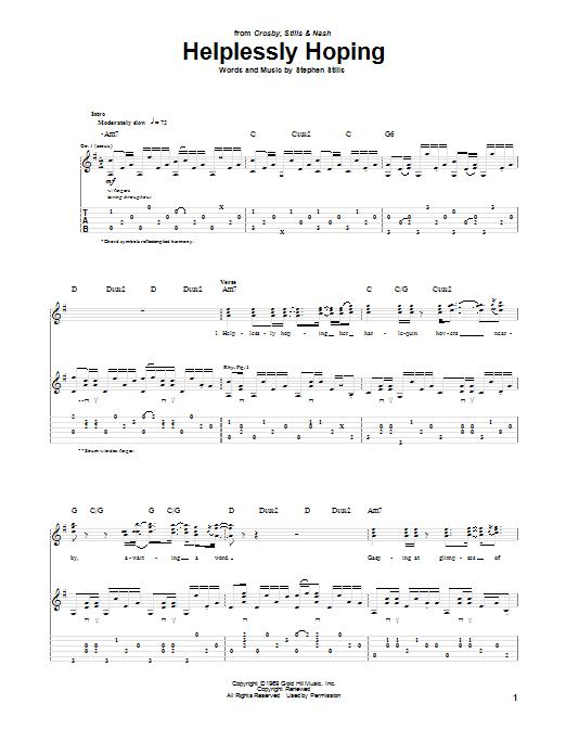 Tablature guitare Helplessly Hoping de Crosby, Stills & Nash - Tablature Guitare