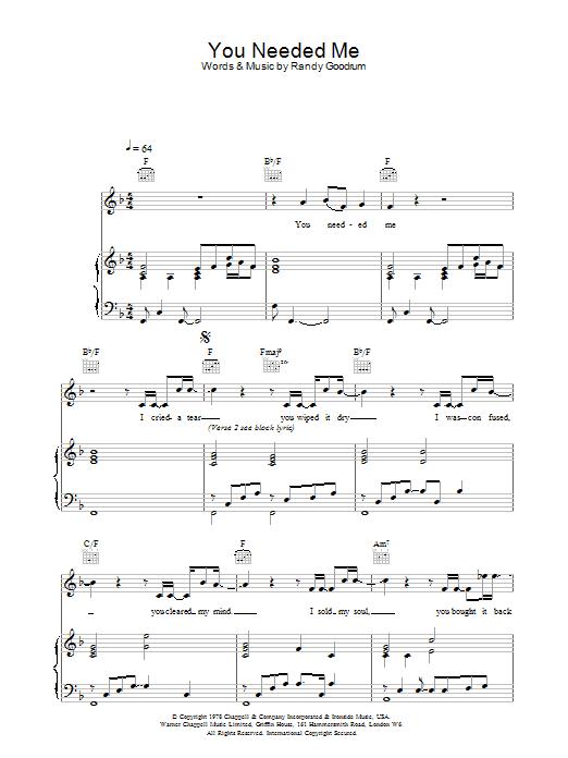 You Needed Me (Piano, Vocal & Guitar)