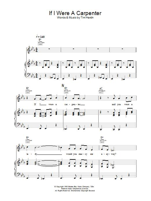 If I Were A Carpenter Sheet Music