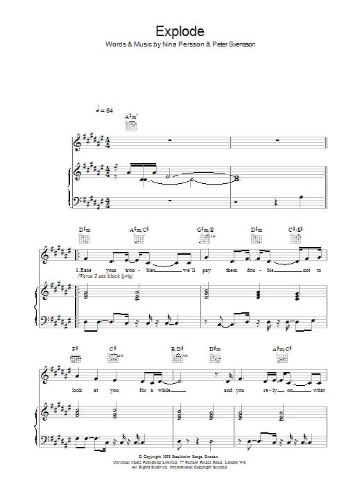 Explode (Piano, Vocal & Guitar)