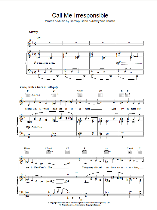 Call Me Irresponsible Sheet Music Frank Sinatra Piano Vocal