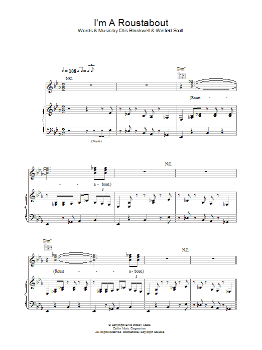 I'm A Roustabout Sheet Music