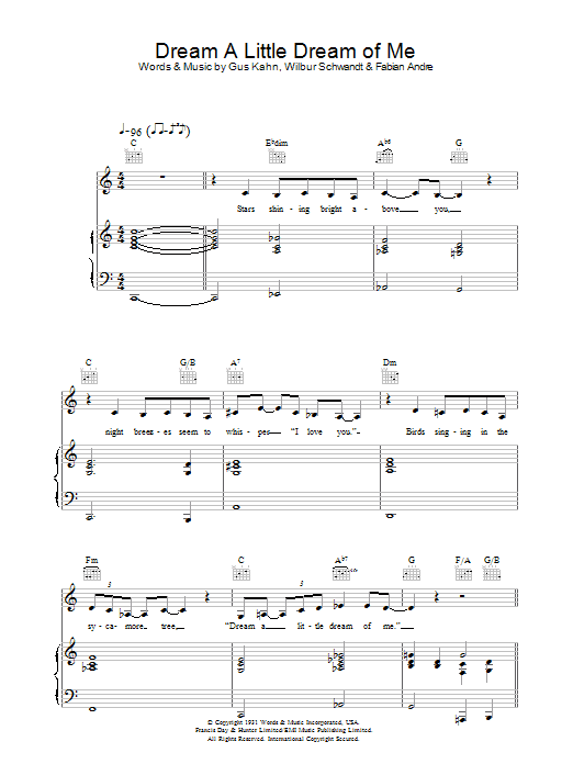 Dream A Little Dream Of Me : Sheet Music Direct