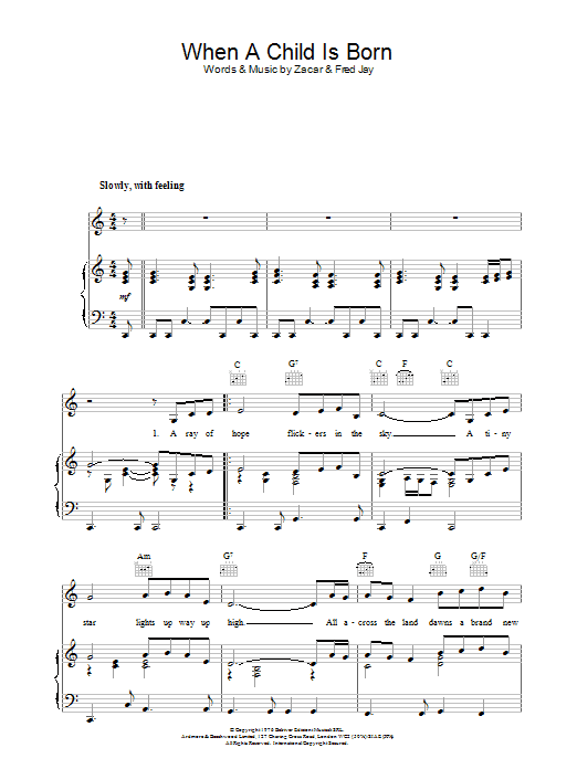 When A Child Is Born (Piano, Vocal & Guitar)