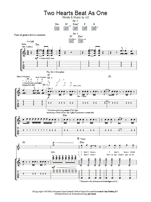 Two Hearts Beat As One (Guitar Tab)