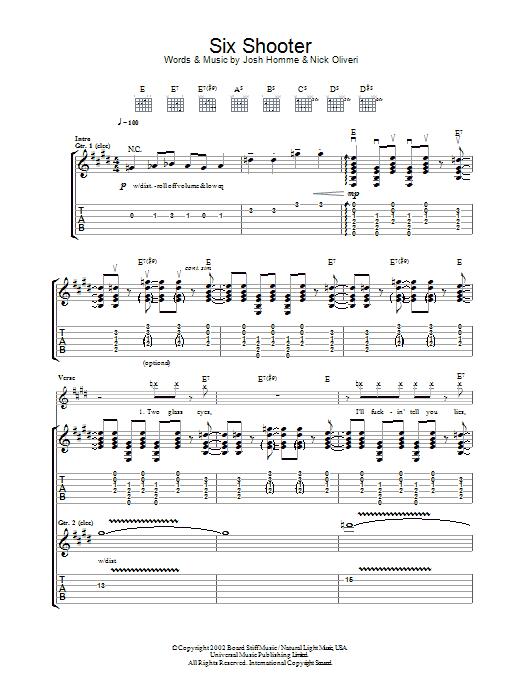Six Shooter (Guitar Tab)