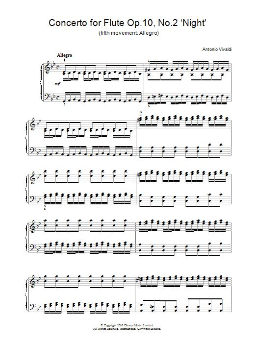 Concerto for Flute Op.10, No.2 'Night' (5th Movement: Allegro) (Piano Solo)