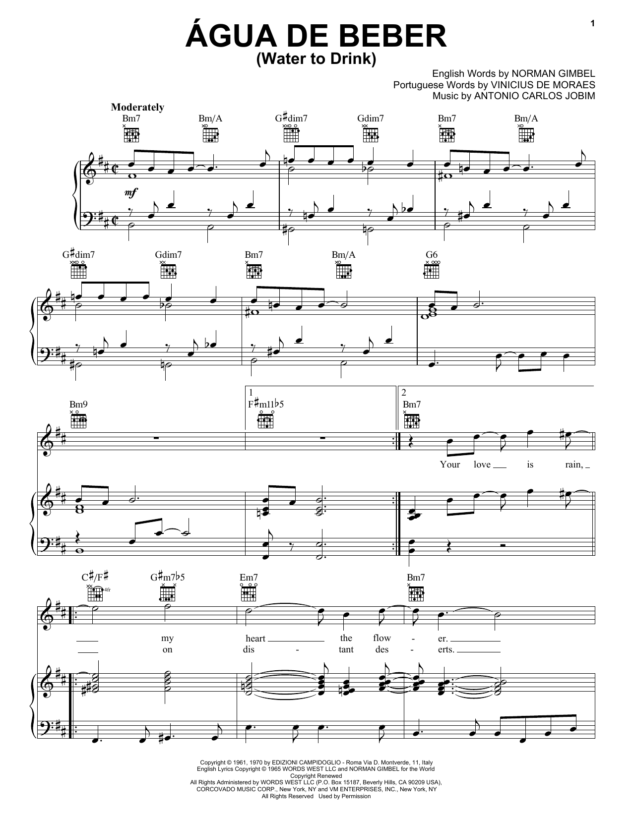 Agua De Beber (Water To Drink) Sheet Music