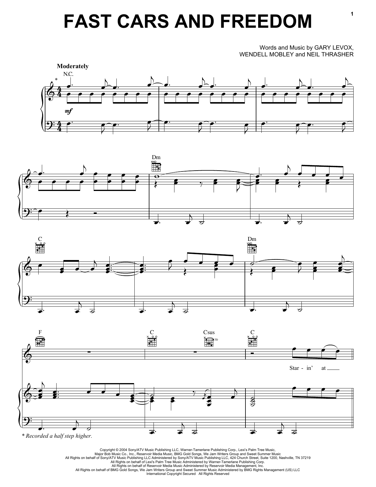 Fast Cars And Freedom Sheet Music