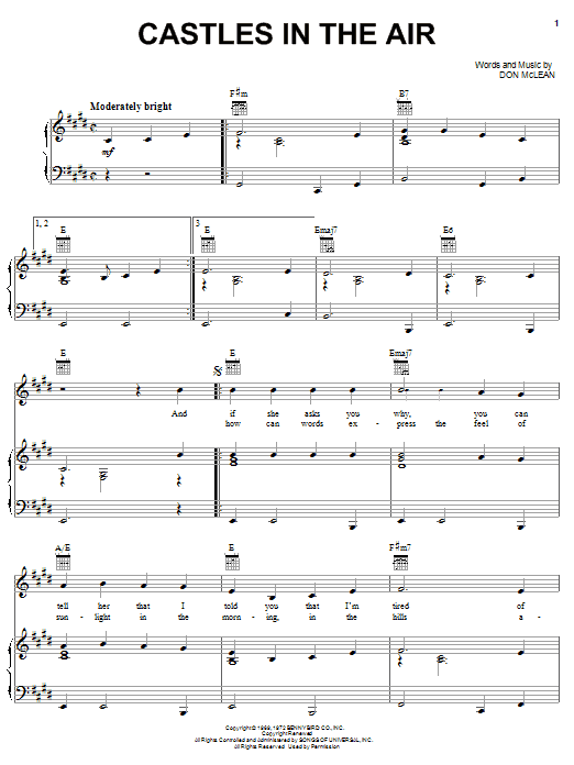 Castles In The Air (Piano, Vocal & Guitar (Right-Hand Melody))