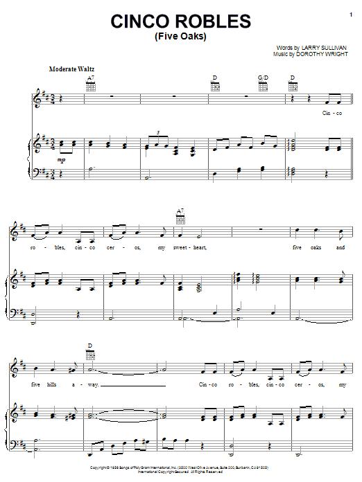 Cinco Robles (Five Oaks) (Piano, Vocal & Guitar (Right-Hand Melody))